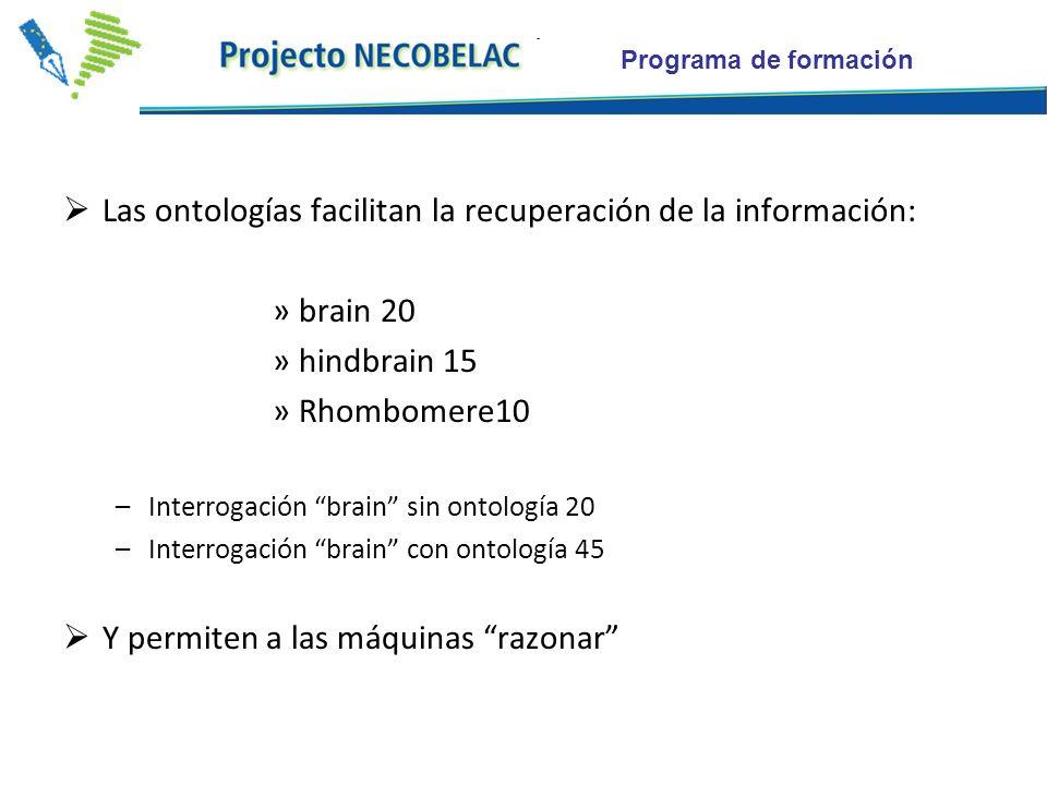 Programa de formación Las ontologías facilitan la recuperación de la información: »brain 20 »hindbrain 15 »Rhombomere10 –Interrogación brain sin ontología 20 –Interrogación brain con ontología 45 Y permiten a las máquinas razonar