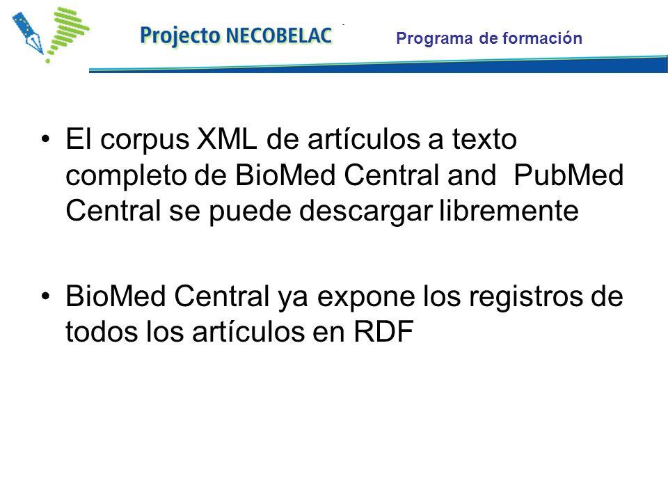 El corpus XML de artículos a texto completo de BioMed Central and PubMed Central se puede descargar libremente BioMed Central ya expone los registros de todos los artículos en RDF