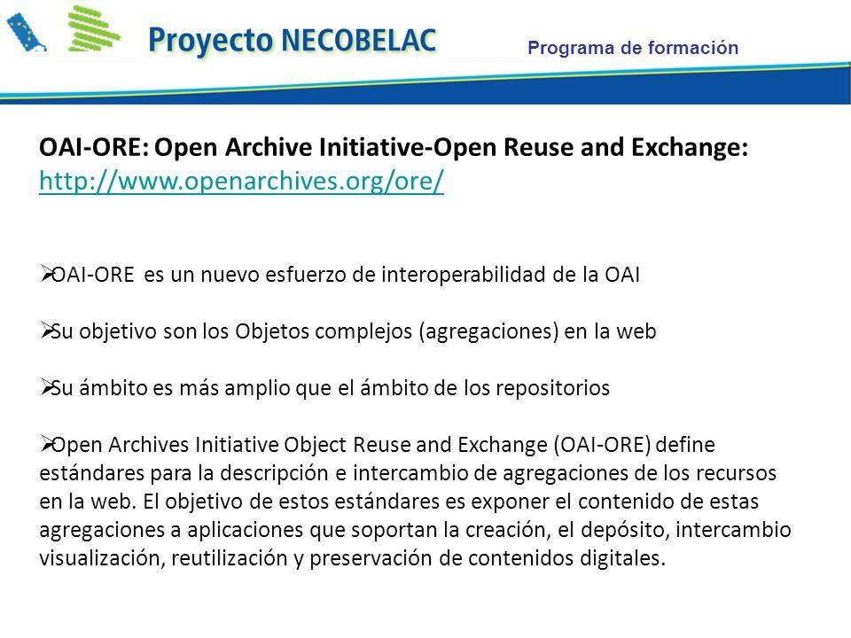 Programa de formación OAI-ORE: Open Archive Initiative-Open Reuse and Exchange: http://www.openarchives.org/ore/ http://www.openarchives.org/ore/ OAI-ORE es un nuevo esfuerzo de interoperabilidad de la OAI Su objetivo son los Objetos complejos (agregaciones) en la web Su ámbito es más amplio que el ámbito de los repositorios Open Archives Initiative Object Reuse and Exchange (OAI-ORE) define estándares para la descripción e intercambio de agregaciones de los recursos en la web.