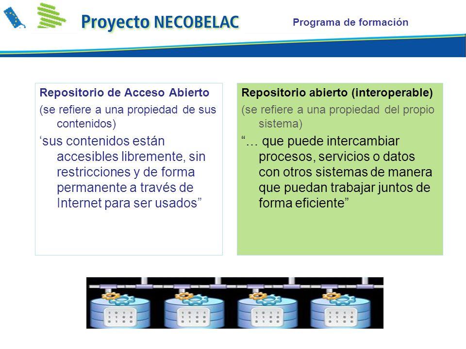 Repositorio de Acceso Abierto (se refiere a una propiedad de sus contenidos) sus contenidos están accesibles libremente, sin restricciones y de forma permanente a través de Internet para ser usados Repositorio abierto (interoperable) (se refiere a una propiedad del propio sistema) … que puede intercambiar procesos, servicios o datos con otros sistemas de manera que puedan trabajar juntos de forma eficiente
