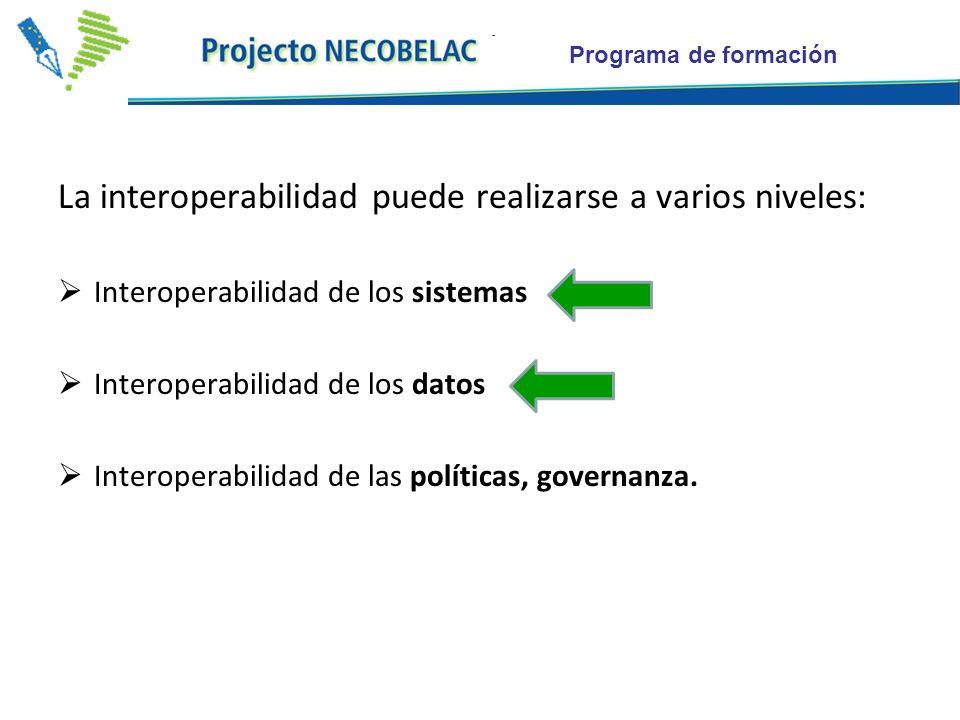 Programa de formación La interoperabilidad puede realizarse a varios niveles: Interoperabilidad de los sistemas Interoperabilidad de los datos Interoperabilidad de las políticas, governanza.