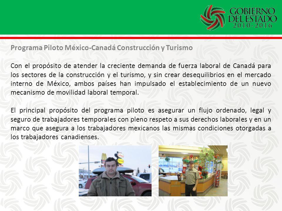 Programa Piloto México-Canadá Construcción y Turismo Con el propósito de atender la creciente demanda de fuerza laboral de Canadá para los sectores de la construcción y el turismo, y sin crear desequilibrios en el mercado interno de México, ambos países han impulsado el establecimiento de un nuevo mecanismo de movilidad laboral temporal.