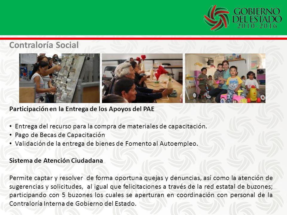 Participación en la Entrega de los Apoyos del PAE Entrega del recurso para la compra de materiales de capacitación.