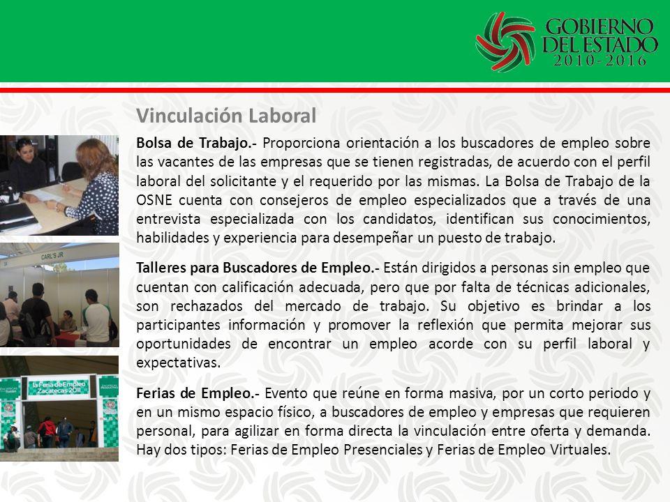Vinculación Laboral Bolsa de Trabajo.- Proporciona orientación a los buscadores de empleo sobre las vacantes de las empresas que se tienen registradas, de acuerdo con el perfil laboral del solicitante y el requerido por las mismas.