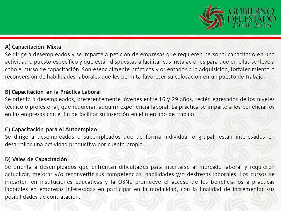A) Capacitación Mixta Se dirige a desempleados y se imparte a petición de empresas que requieren personal capacitado en una actividad o puesto específico y que están dispuestas a facilitar sus instalaciones para que en ellas se lleve a cabo el curso de capacitación.