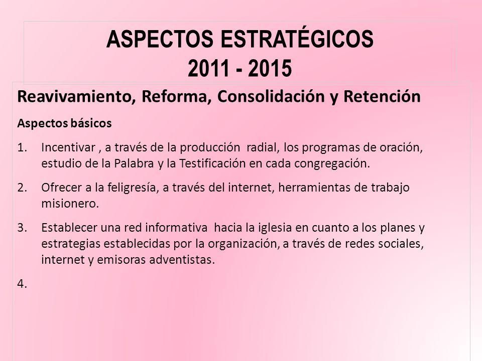 Reavivamiento, Reforma, Consolidación y Retención Aspectos básicos 1.Incentivar, a través de la producción radial, los programas de oración, estudio d