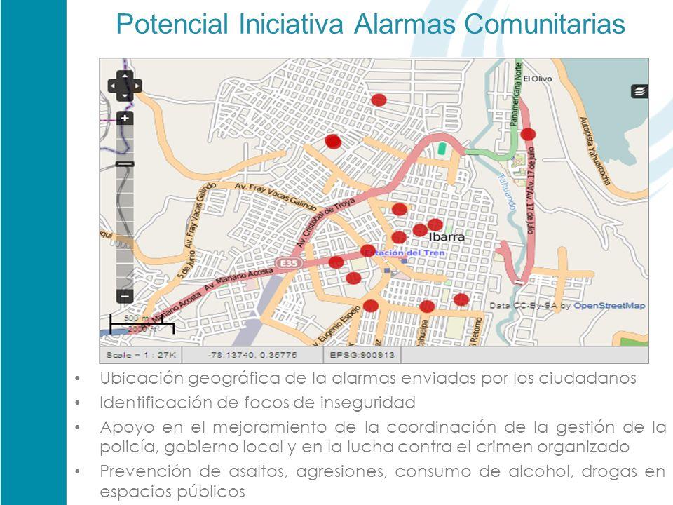 Potencial Iniciativa Alarmas Comunitarias Ubicación geográfica de la alarmas enviadas por los ciudadanos Identificación de focos de inseguridad Apoyo