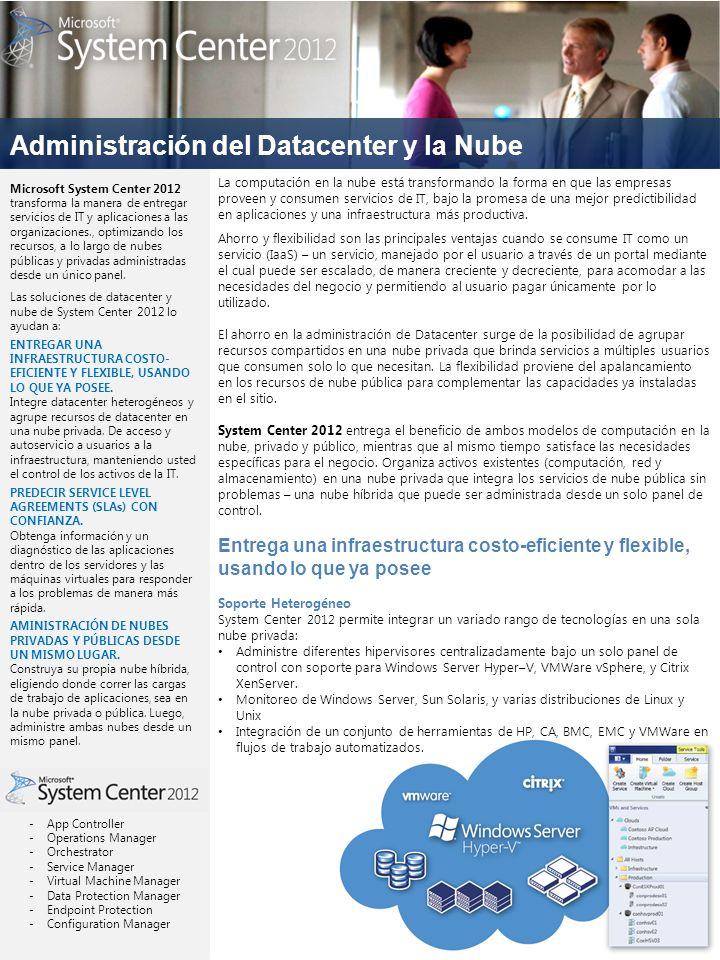 Administración del Datacenter y la Nube La computación en la nube está transformando la forma en que las empresas proveen y consumen servicios de IT, bajo la promesa de una mejor predictibilidad en aplicaciones y una infraestructura más productiva.