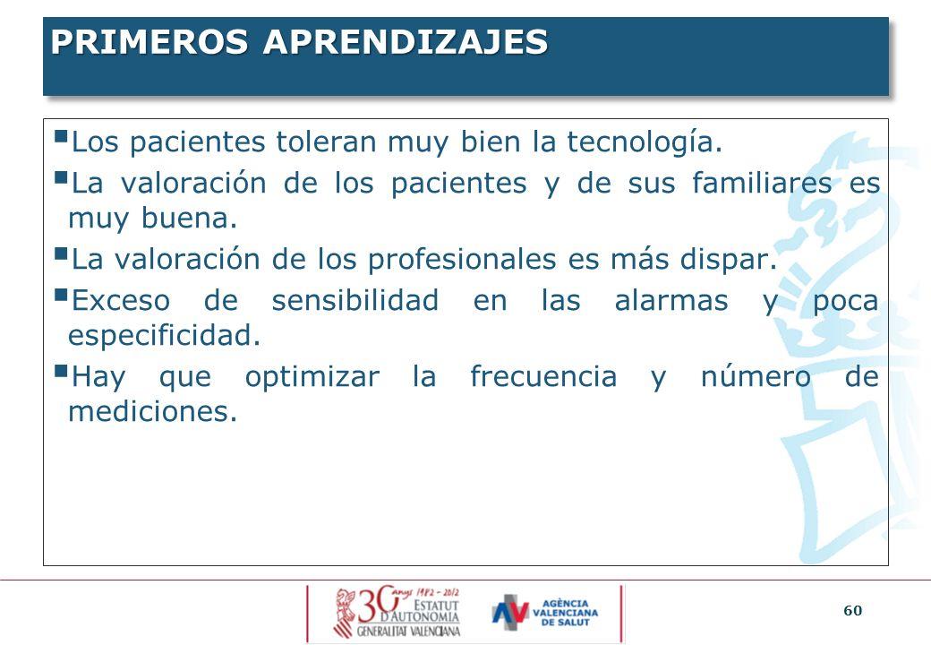 60 PRIMEROS APRENDIZAJES Los pacientes toleran muy bien la tecnología. La valoración de los pacientes y de sus familiares es muy buena. La valoración