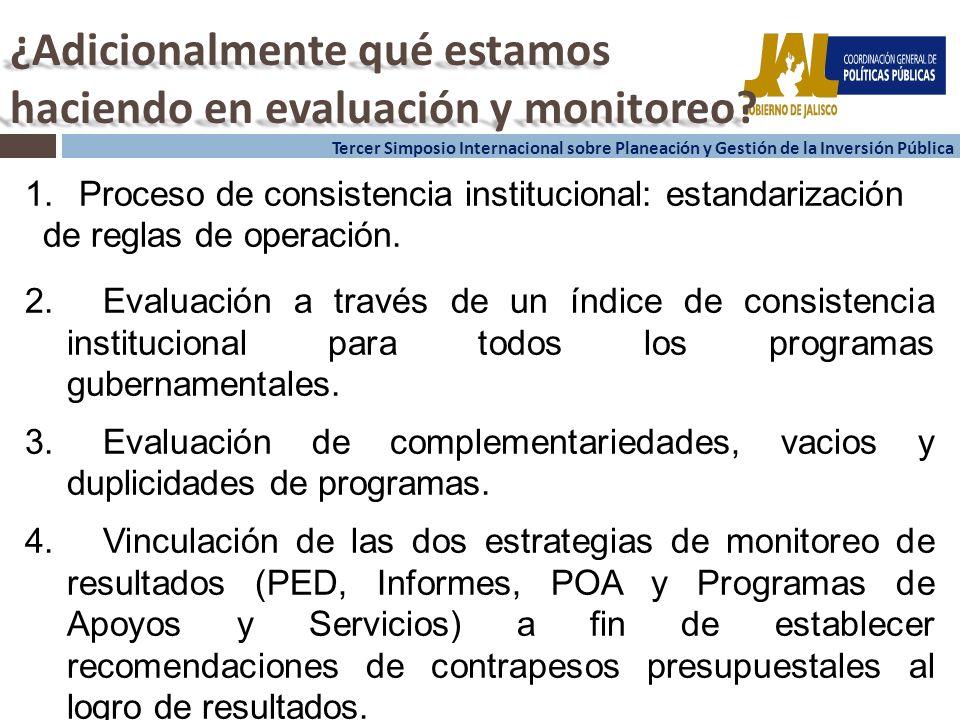 14 Tercer Simposio Internacional sobre Planeación y Gestión de la Inversión Pública ¿Adicionalmente qué estamos haciendo en evaluación y monitoreo.