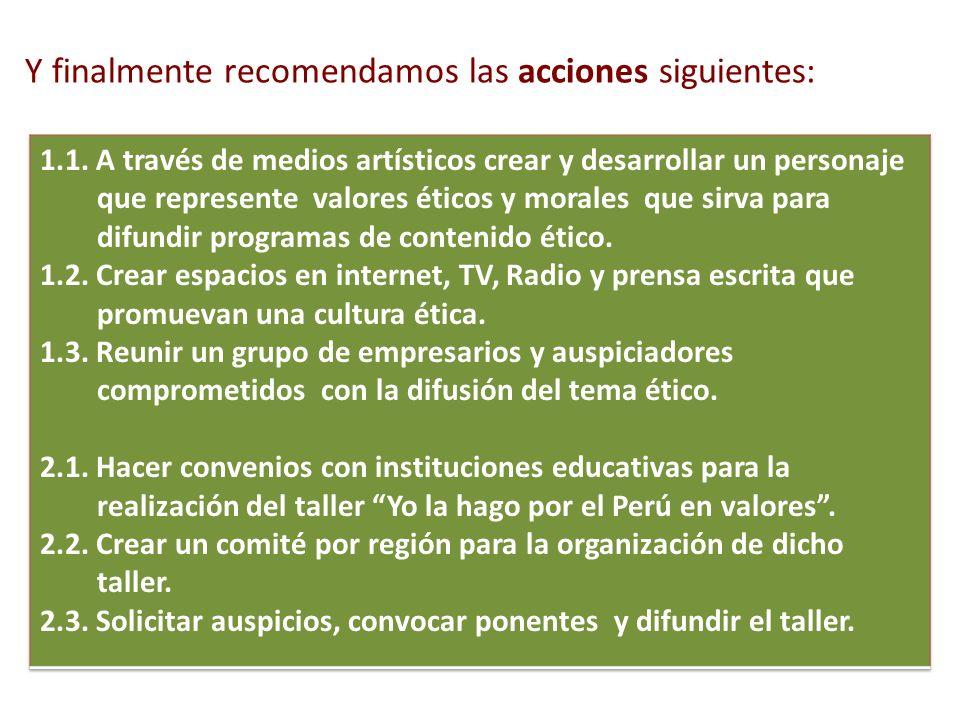 Y finalmente recomendamos las acciones siguientes: