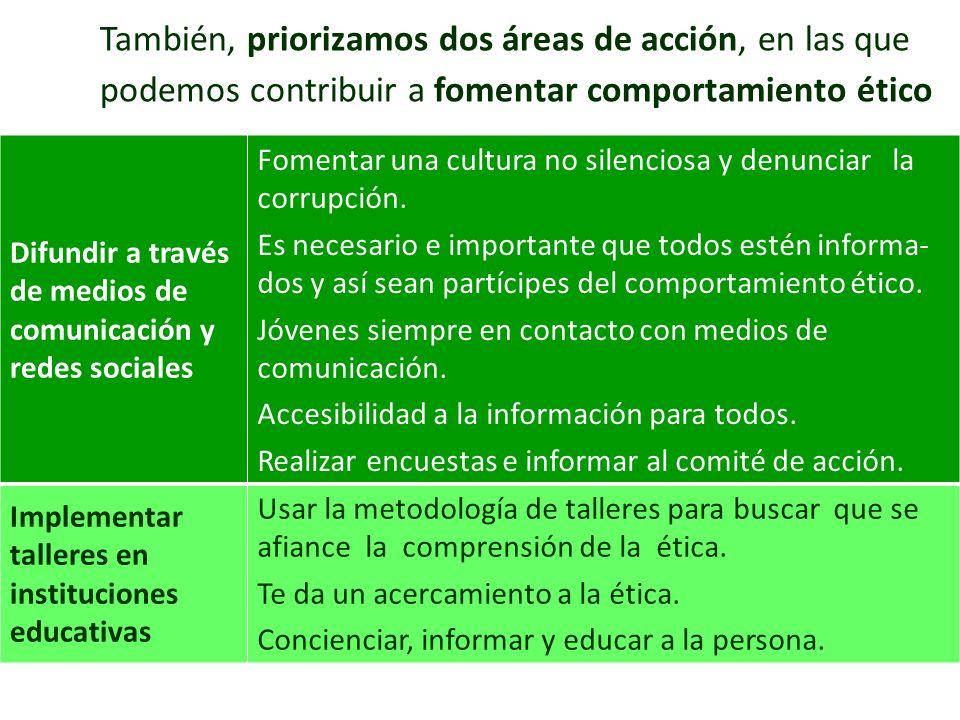 También, priorizamos dos áreas de acción, en las que podemos contribuir a fomentar comportamiento ético Difundir a través de medios de comunicación y