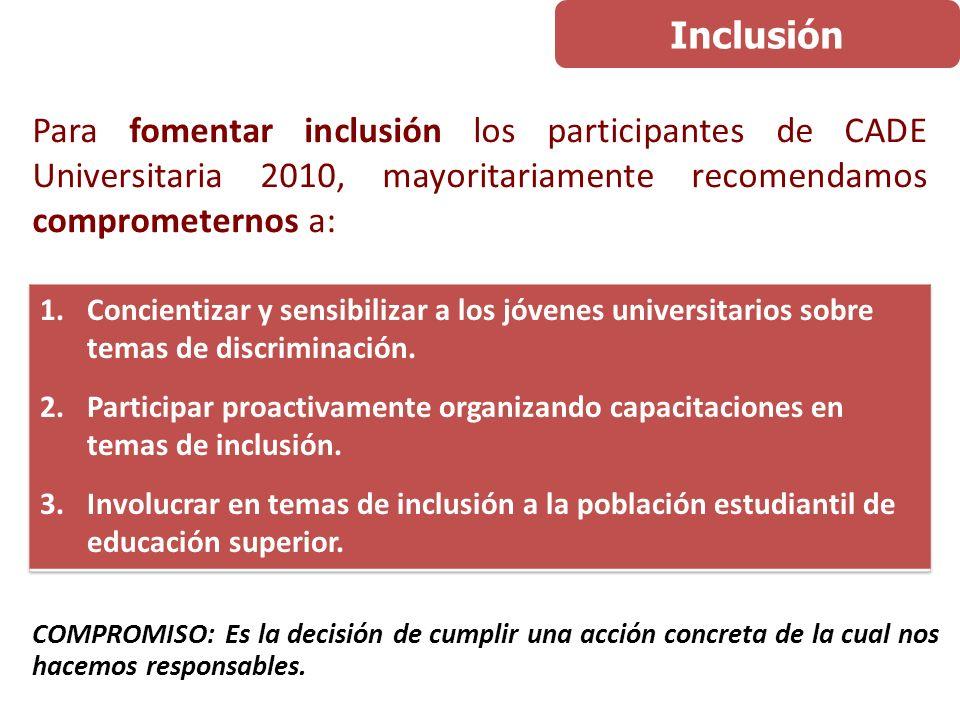 COMPROMISO: Es la decisión de cumplir una acción concreta de la cual nos hacemos responsables. Para fomentar inclusión los participantes de CADE Unive