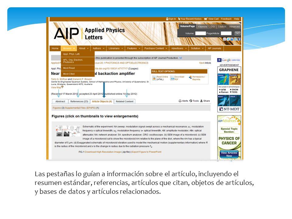 Las pestañas lo guían a información sobre el artículo, incluyendo el resumen estándar, referencias, artículos que citan, objetos de artículos, y bases de datos y artículos relacionados.