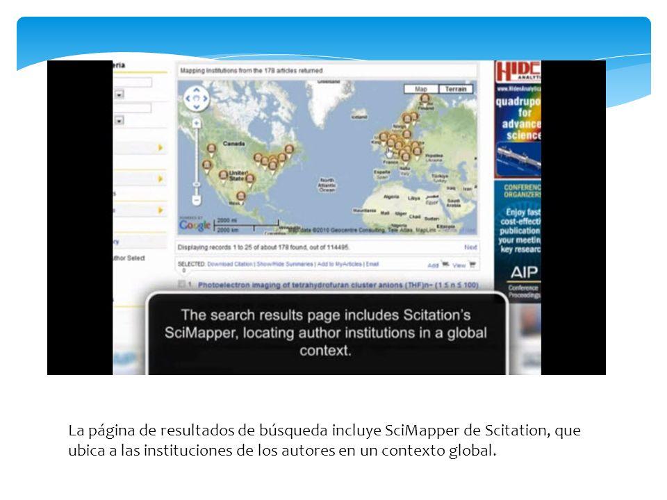 La página de resultados de búsqueda incluye SciMapper de Scitation, que ubica a las instituciones de los autores en un contexto global.