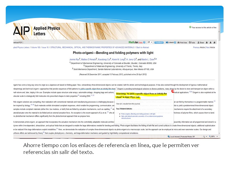 Ahorre tiempo con los enlaces de referencia en línea, que le permiten ver referencias sin salir del texto.