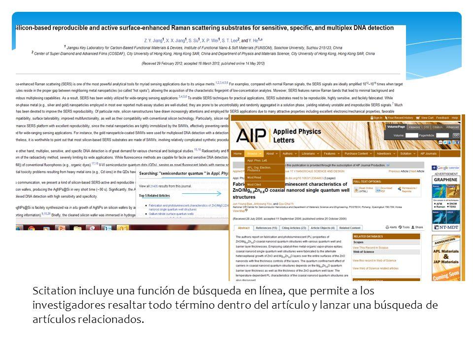 Scitation incluye una función de búsqueda en línea, que permite a los investigadores resaltar todo término dentro del artículo y lanzar una búsqueda de artículos relacionados.