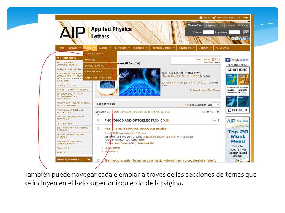 También puede navegar cada ejemplar a través de las secciones de temas que se incluyen en el lado superior izquierdo de la página.