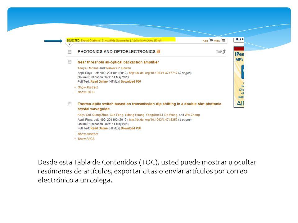 Páginas de resumen en Scitation Las páginas de resumen son fáciles de usar.