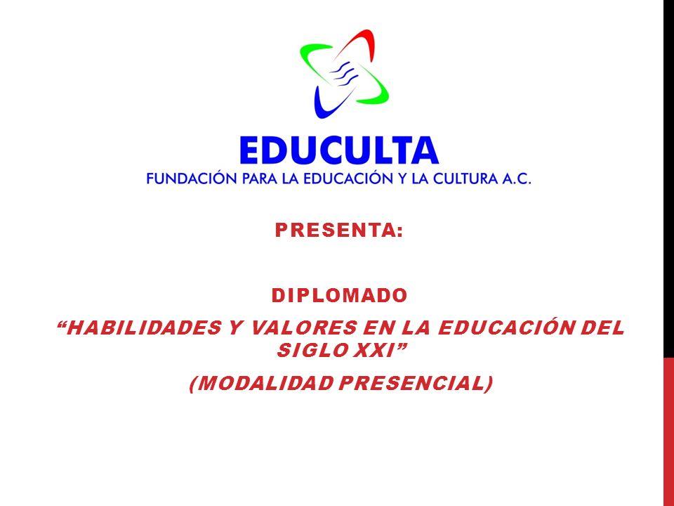 PRESENTA: DIPLOMADO HABILIDADES Y VALORES EN LA EDUCACIÓN DEL SIGLO XXI (MODALIDAD PRESENCIAL)