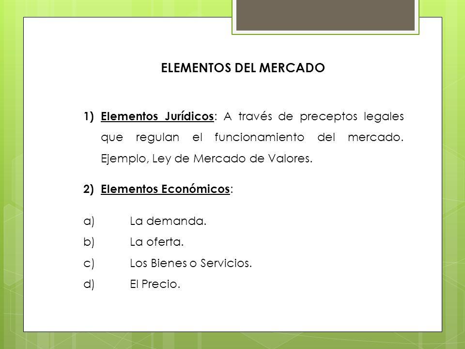 ELEMENTOS DEL MERCADO 1)Elementos Jurídicos : A través de preceptos legales que regulan el funcionamiento del mercado. Ejemplo, Ley de Mercado de Valo