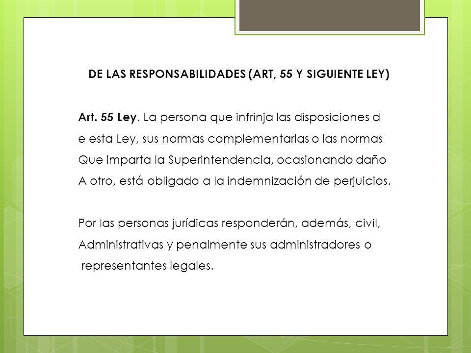 DE LAS RESPONSABILIDADES (ART, 55 Y SIGUIENTE LEY) Art. 55 Ley. La persona que infrinja las disposiciones d e esta Ley, sus normas complementarias o l