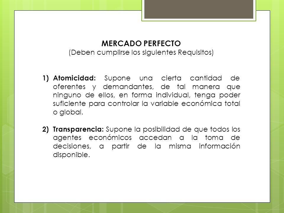MERCADO PERFECTO (Deben cumplirse los siguientes Requisitos) 1)Atomicidad: Supone una cierta cantidad de oferentes y demandantes, de tal manera que ni