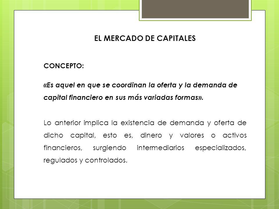 EL MERCADO DE CAPITALES CONCEPTO: «Es aquel en que se coordinan la oferta y la demanda de capital financiero en sus más variadas formas». Lo anterior