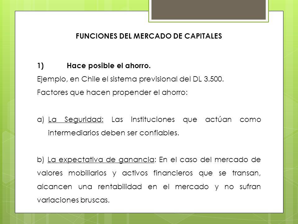FUNCIONES DEL MERCADO DE CAPITALES 1)Hace posible el ahorro. Ejemplo, en Chile el sistema previsional del DL 3.500. Factores que hacen propender el ah