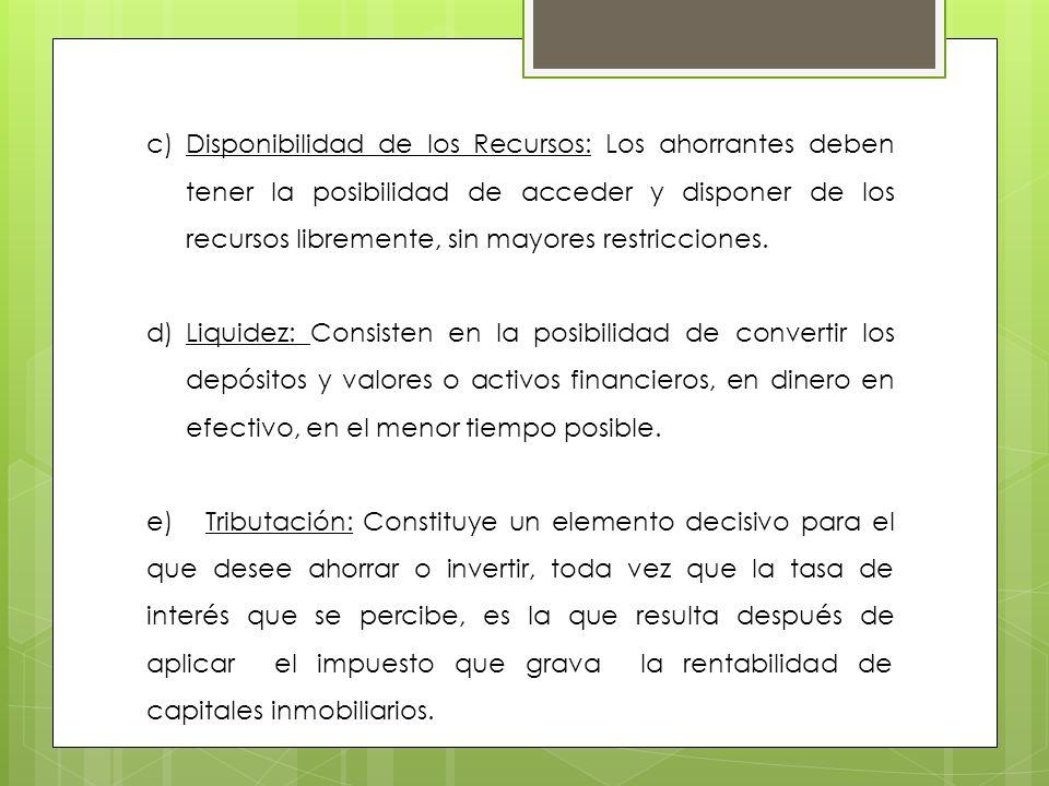 c)Disponibilidad de los Recursos: Los ahorrantes deben tener la posibilidad de acceder y disponer de los recursos libremente, sin mayores restriccione