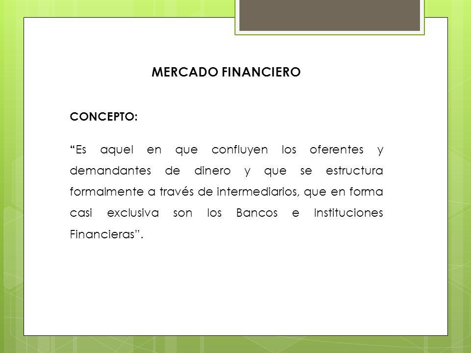 MERCADO FINANCIERO CONCEPTO: Es aquel en que confluyen los oferentes y demandantes de dinero y que se estructura formalmente a través de intermediario
