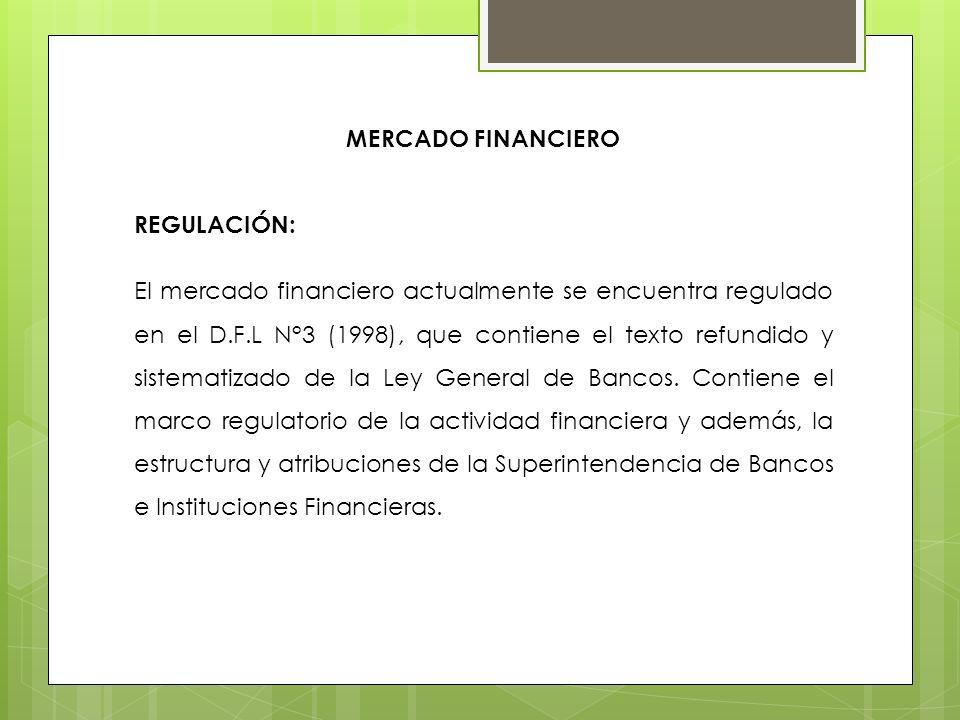 MERCADO FINANCIERO REGULACIÓN: El mercado financiero actualmente se encuentra regulado en el D.F.L N°3 (1998), que contiene el texto refundido y siste