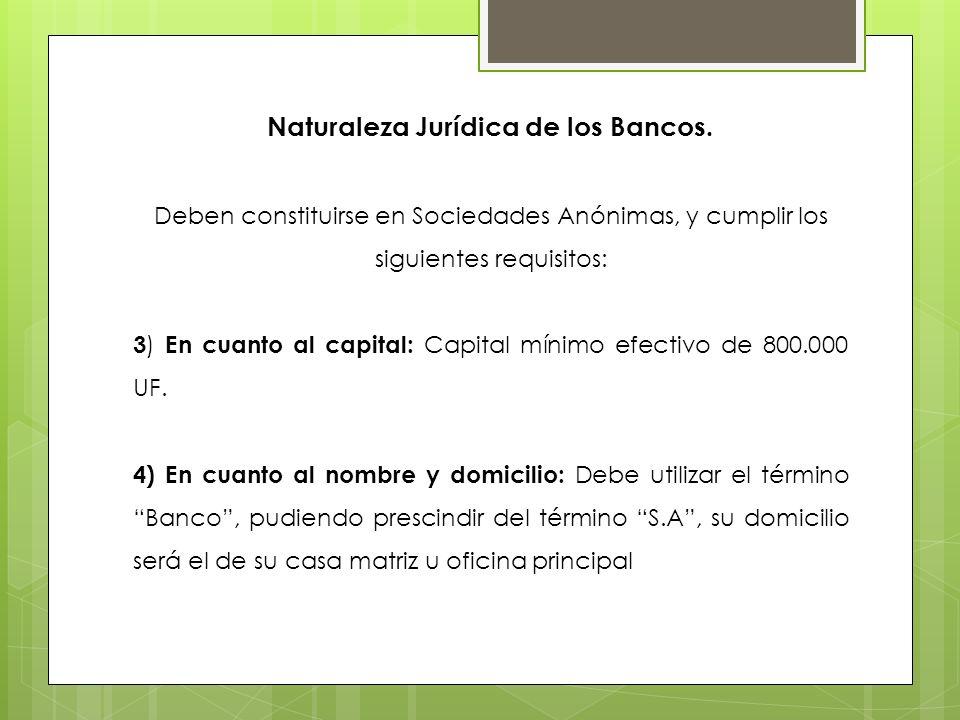 Naturaleza Jurídica de los Bancos. Deben constituirse en Sociedades Anónimas, y cumplir los siguientes requisitos: 3 ) En cuanto al capital: Capital m