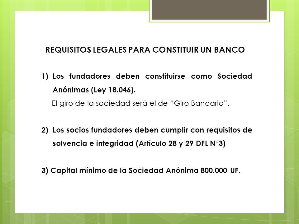 1)Los fundadores deben constituirse como Sociedad Anónimas (Ley 18.046). El giro de la sociedad será el de Giro Bancario. 2)Los socios fundadores debe