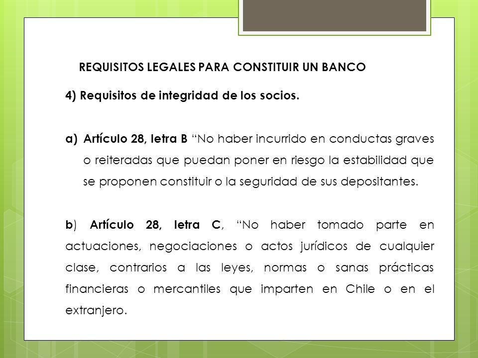 4) Requisitos de integridad de los socios. a)Artículo 28, letra B No haber incurrido en conductas graves o reiteradas que puedan poner en riesgo la es