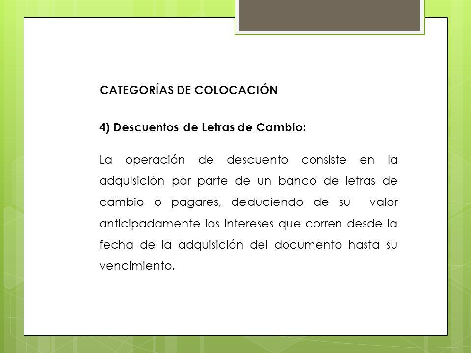 4) Descuentos de Letras de Cambio: La operación de descuento consiste en la adquisición por parte de un banco de letras de cambio o pagares, deduciend