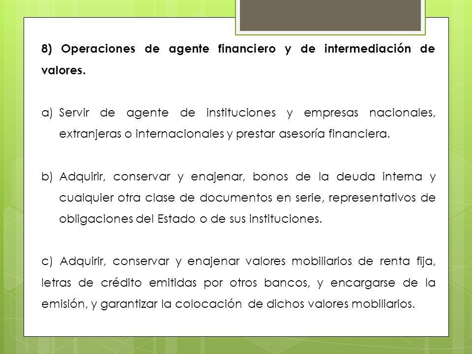 8) Operaciones de agente financiero y de intermediación de valores. a)Servir de agente de instituciones y empresas nacionales, extranjeras o internaci