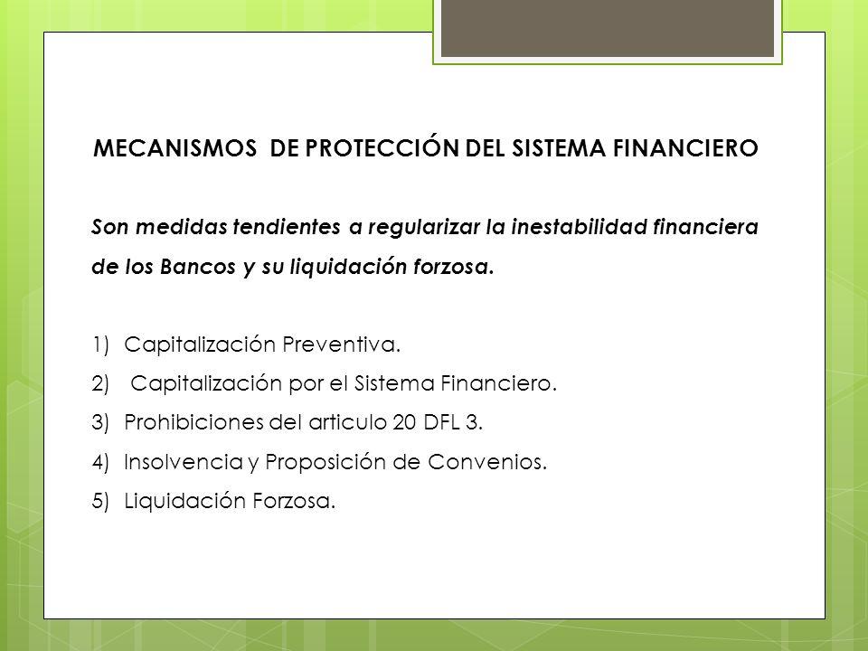 MECANISMOS DE PROTECCIÓN DEL SISTEMA FINANCIERO Son medidas tendientes a regularizar la inestabilidad financiera de los Bancos y su liquidación forzos