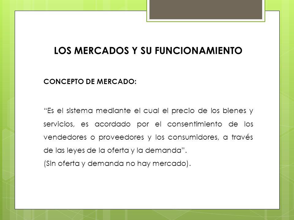 LOS MERCADOS Y SU FUNCIONAMIENTO CONCEPTO DE MERCADO: Es el sistema mediante el cual el precio de los bienes y servicios, es acordado por el consentim