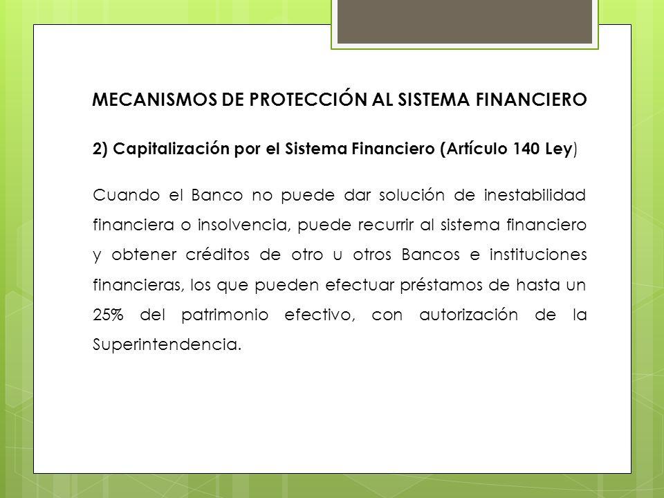 2) Capitalización por el Sistema Financiero (Artículo 140 Ley ) Cuando el Banco no puede dar solución de inestabilidad financiera o insolvencia, puede