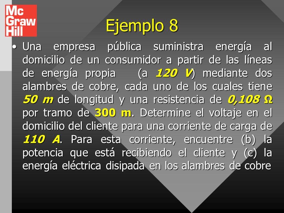 Ejemplo 5 Un automóvil eléctrico ha sido diseñado para funcionar a partir de un banco de baterías de 12 V con un almacenamiento total de energía de 2.
