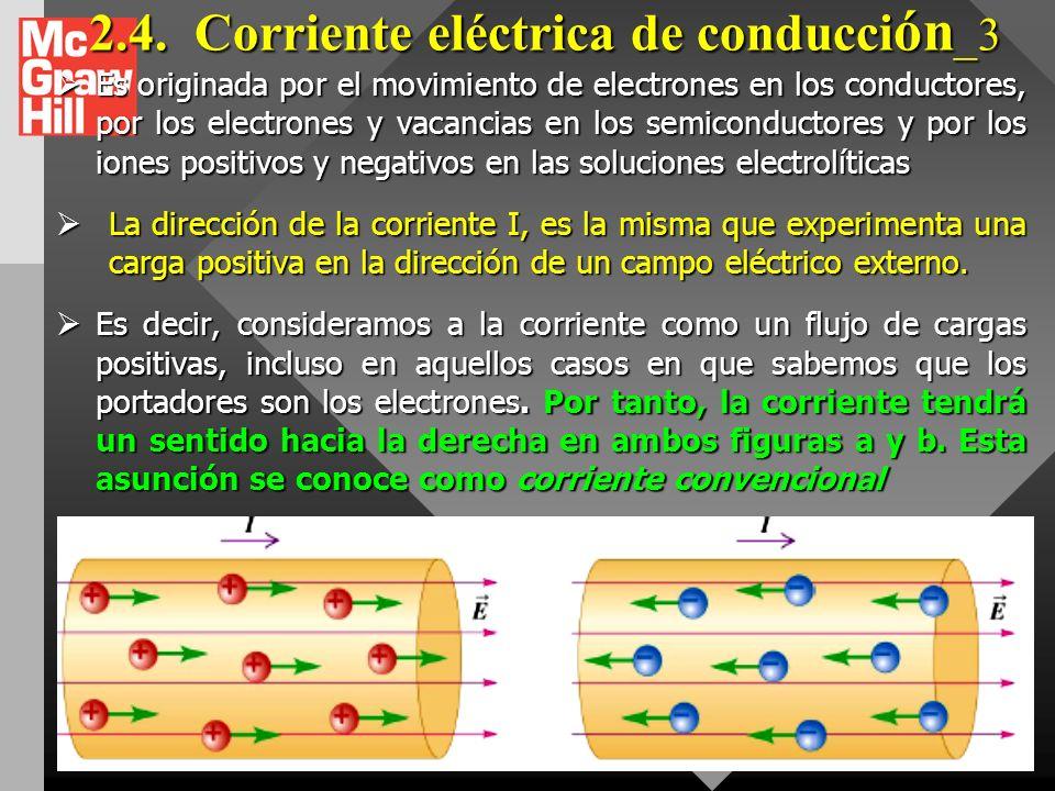 2.4.Corriente eléctrica de conducción_2 Aunque el movimiento aleatorio de los electrones tiene una rapidez promedio muy grande, aproximadamente 10 6 m