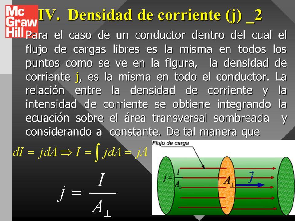 IV. Densidad de corriente (j) _1. Expresa la intensidad o concentración del flujo de carga en un punto de un medio conductor. Expresa la intensidad o