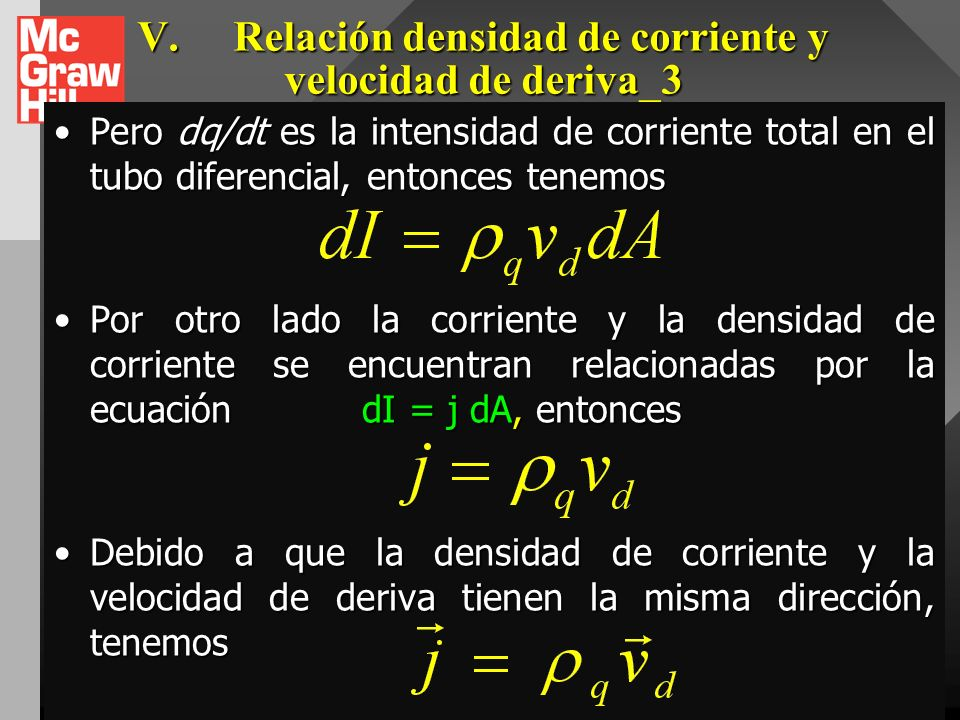 V.Relación densidad de corriente y velocidad de deriva_3 En un intervalo de tiempo dt, toda carga dentro de la sustancia se moverá una distancia dx =