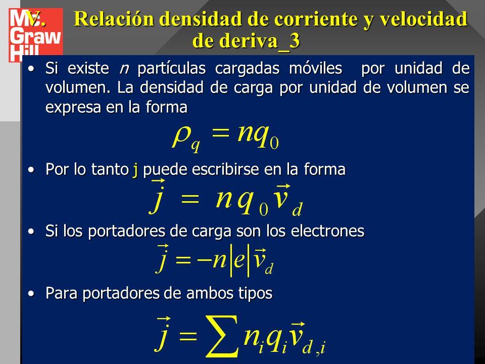 V.Relación densidad de corriente y velocidad de deriva_3 Pero dq/dt es la intensidad de corriente total en el tubo diferencial, entonces tenemosPero d