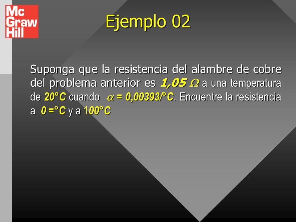 Ejemplo 01 Un alambre de cobre de calibre 18 tiene un diámetro de 1,02 mm y un área de sección transversal A = 8,2.10-7 m2, transporta una corriente I