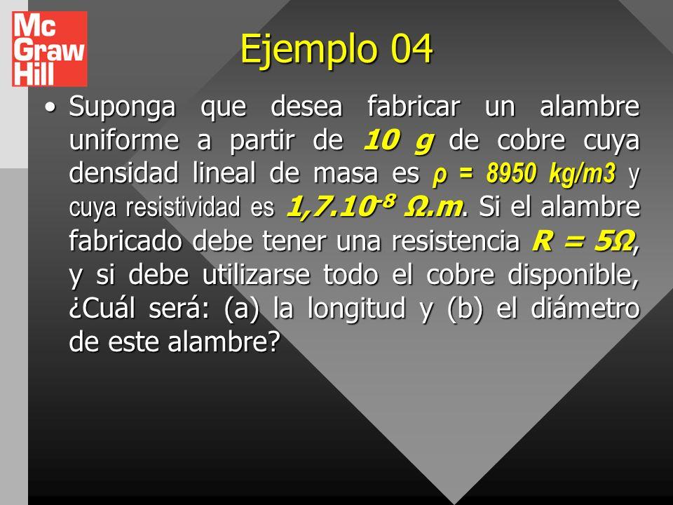 Ejemplo 03 Cierta bombilla tiene un filamento de tungsteno con una resistencia de 19 cuando está frio y de 140 cuando está caliente. Suponga que la re