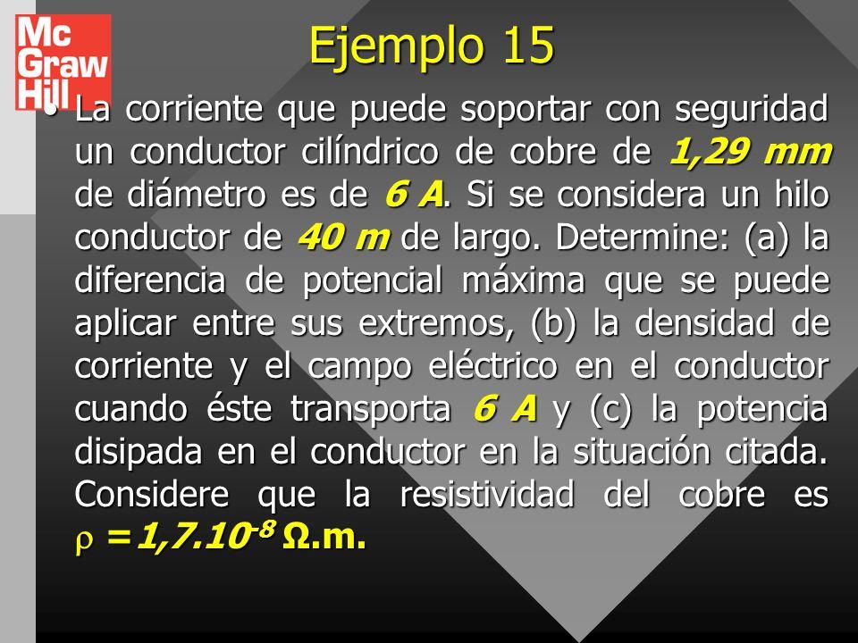 Ejemplo 14 Se sumerge un tubo de plástico de 2,5 m de largo y 4 cm de diámetro en una solución de plata y se deposita una capa uniforme de 0,1 mm de e