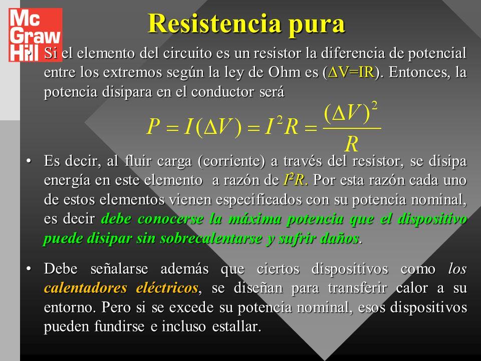VIX.ENERGÍA Y POTENCIA EN CIRCUITOS_2 En donde, V a - V b, es la disminución o caída de potencial a través del segmento de conductor. La energía perdi