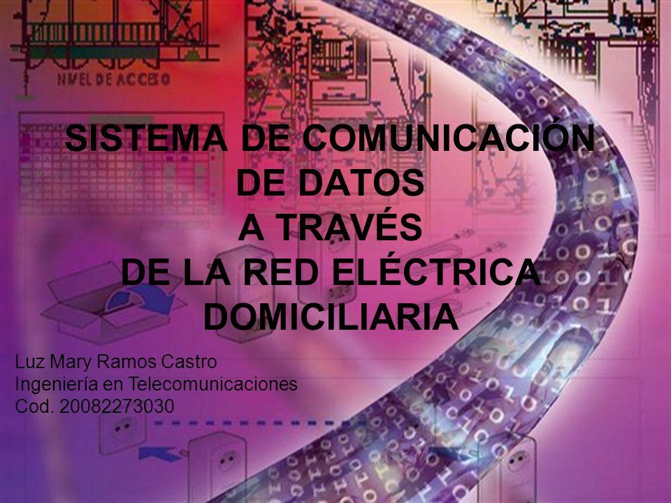 SISTEMA DE COMUNICACIÓN DE DATOS A TRAVÉS DE LA RED ELÉCTRICA DOMICILIARIA Luz Mary Ramos Castro Ingeniería en Telecomunicaciones Cod. 20082273030